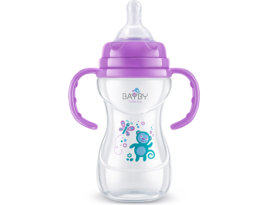 BFB 6107 Wide neck PP feeding bottle<br />with handle 240ml 6m+